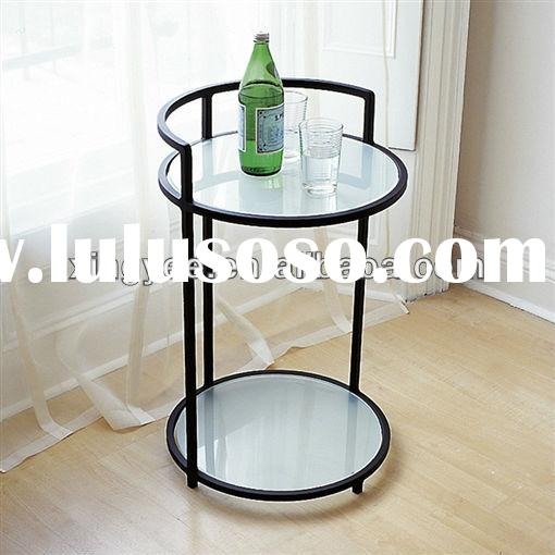 modern living room bedroom metal frame tempered glass round bed sofa side table nightstands