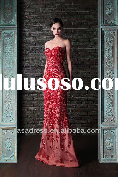 2014 New Fashion Sweetheart Mermaid Gown with Lace Appliqued Latest Design Formal Evening Gown (EVRK
