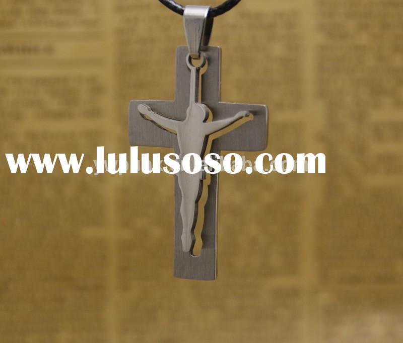 2015 Fashion Jewelry Silver Jesus Cross Pendant Necklace For Men