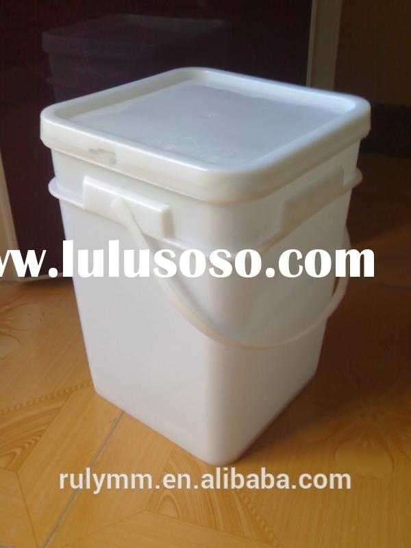 20L square plastic paint bucket with lid and plastic handle