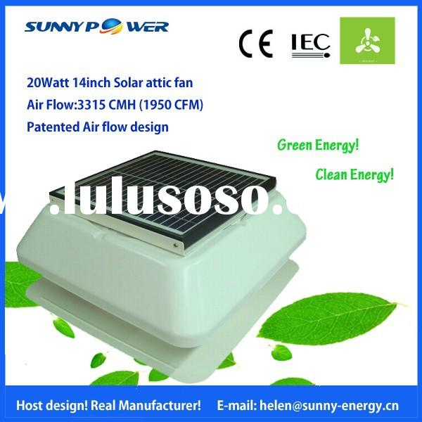 20W 14inch metal solar air vent fan Home Appliances Air conditioner Powered solar roof exhaust fan w