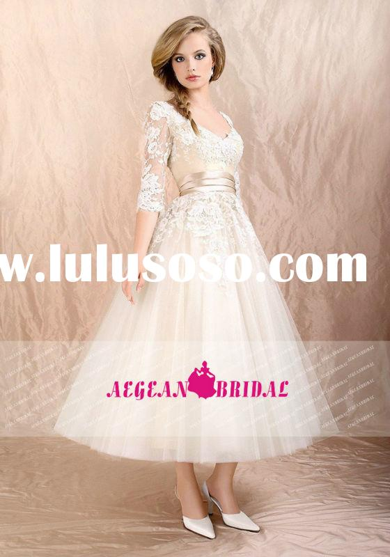 AEW606 Beautiful Lace Tea Length Wedding Dresses With Sleeves