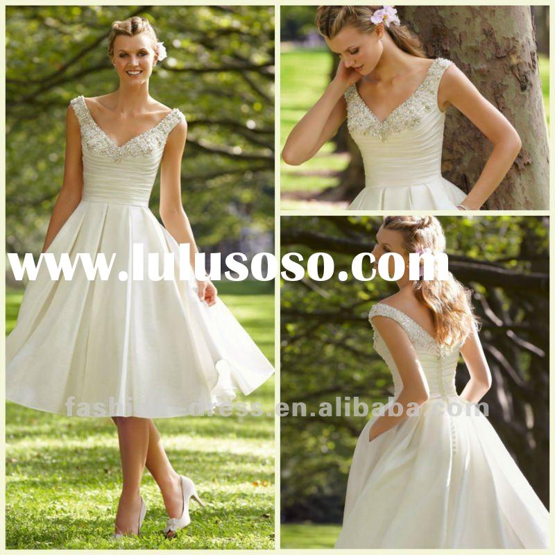 Beautiful Noble Tea length ivory wedding dresses