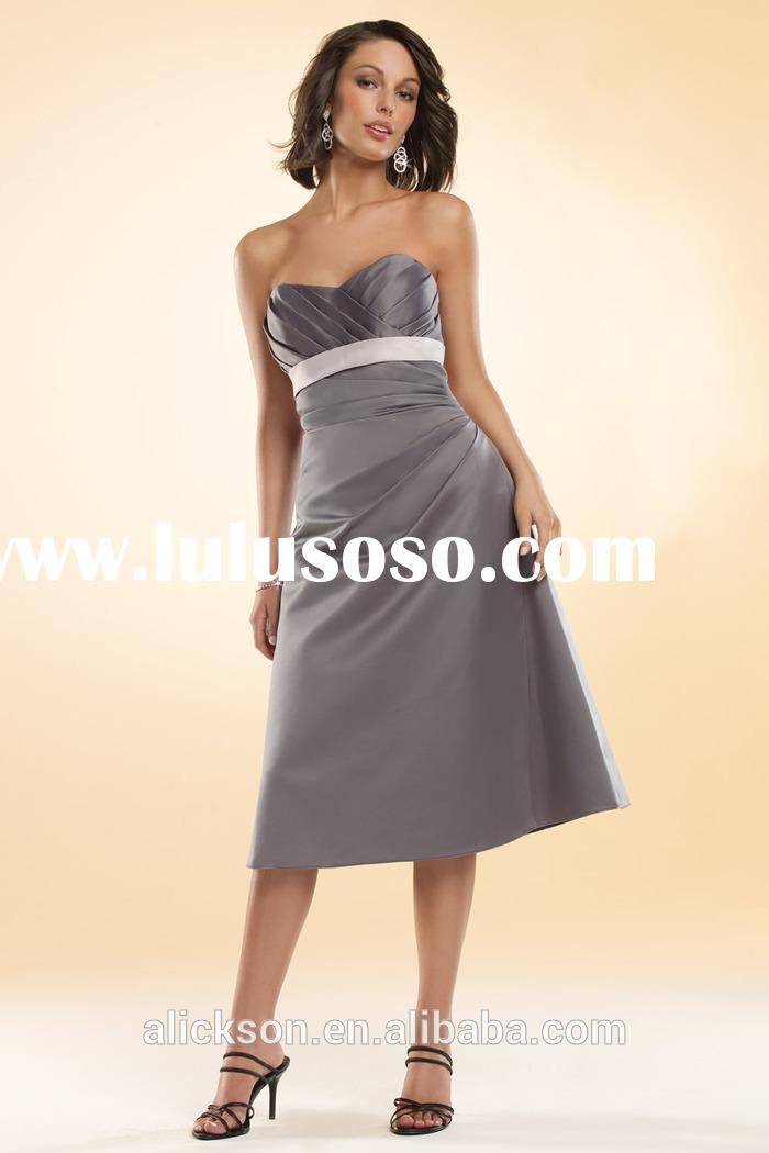 Beautiful Strapless Sweetheart A Line Tea Length Satin Grey Bridesmaid Dresses