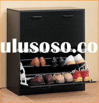 Black Modern Shoe Rack Cabinet , Wooden Shoe Cabinet Furniture