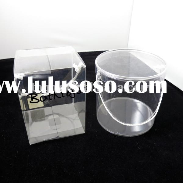 Clear plastic bucket, clear plastic tube with caps, transparent clear plastic tube for candy