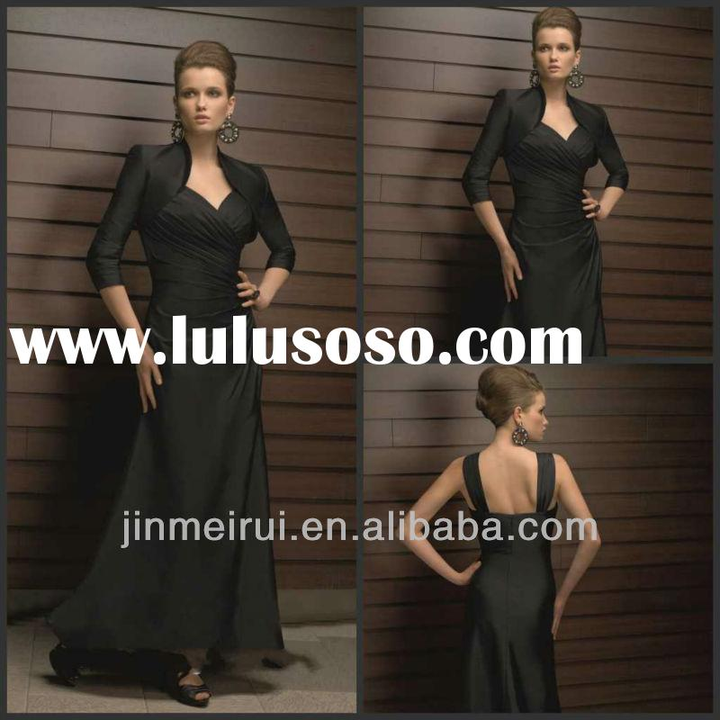Custom Made Elegant Black A-line Floor Pleat Satin Mother Of The Bride Dress With Jacket