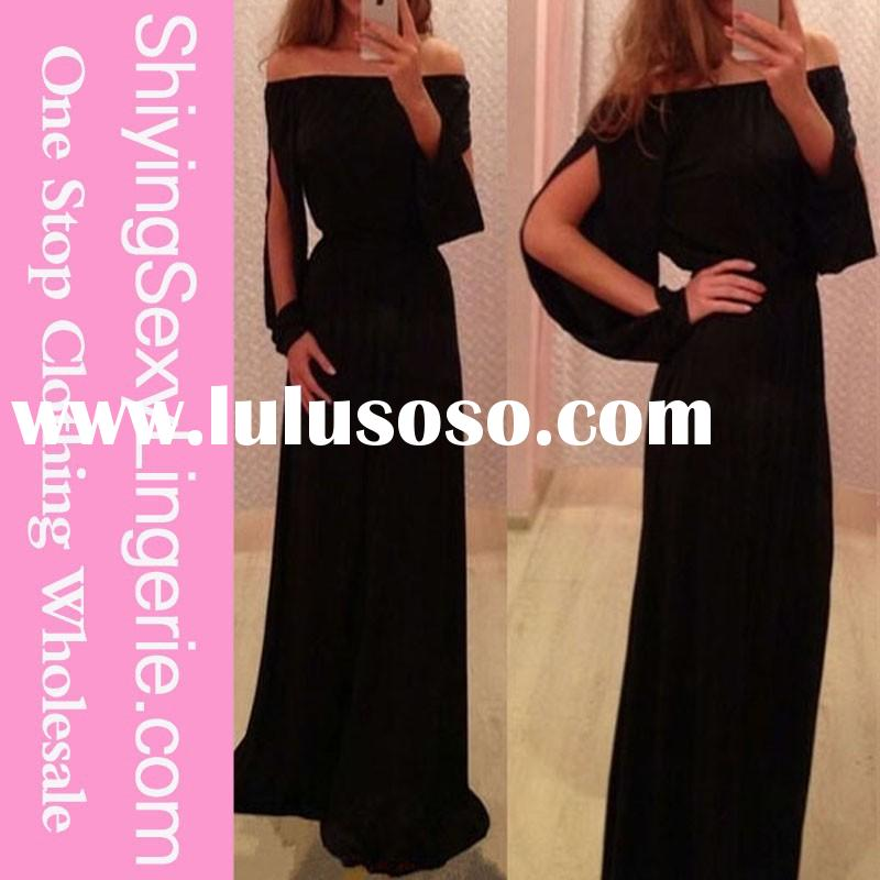 Fashion Wholesale Black Glamorous Slit Design Long Sleeve Evening Dress famous evening gown designer