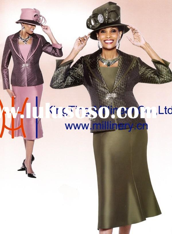 Fashion And Elegant Black Women Church Suits With Hats