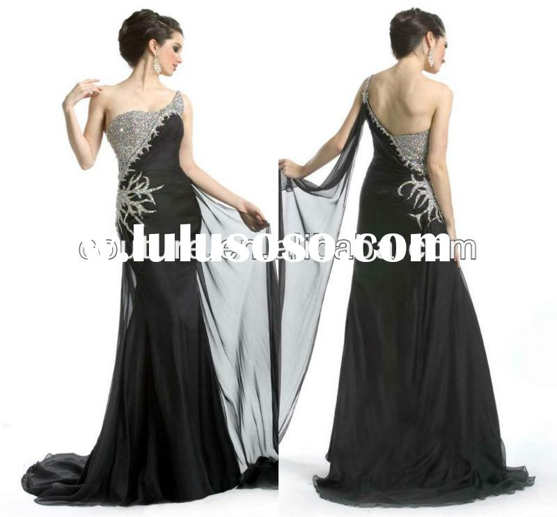 Fashionable Style one shoulder mermaid beaded floor length chiffon black evening dress long black go