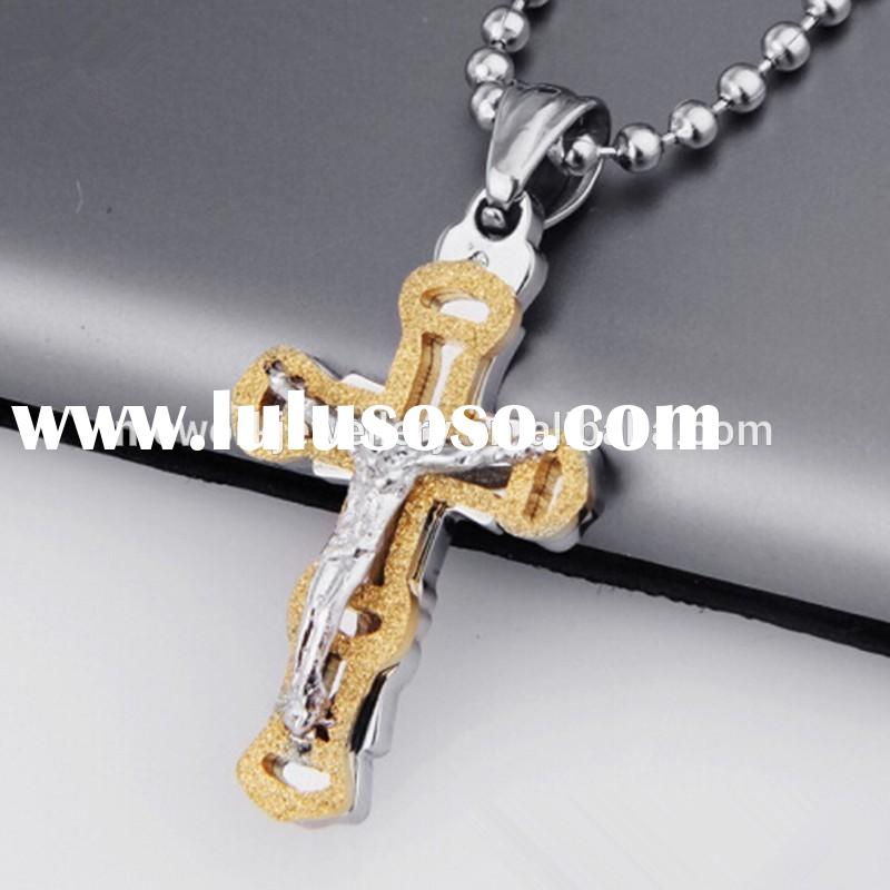 Gold and silver tone Jesus cross pendant stainless steel necklace for men