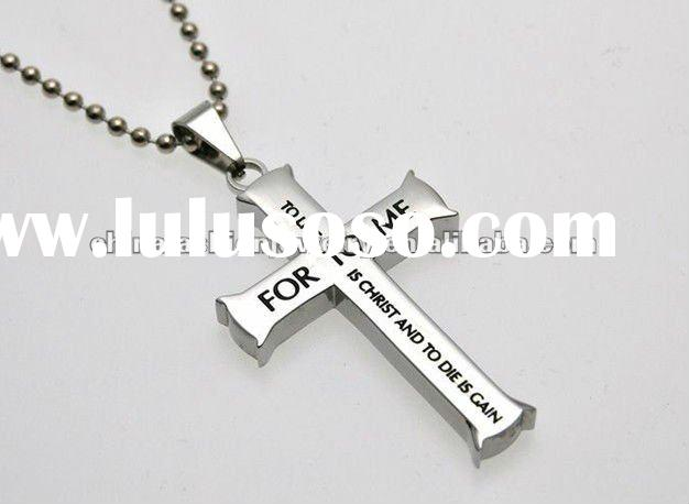 HSZN354 Silver Cross Necklace For Men