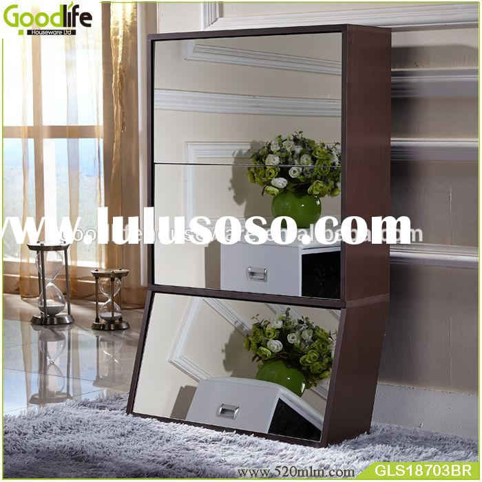 Home furniture mirrored wooden shoe cabinet for shoes organizing
