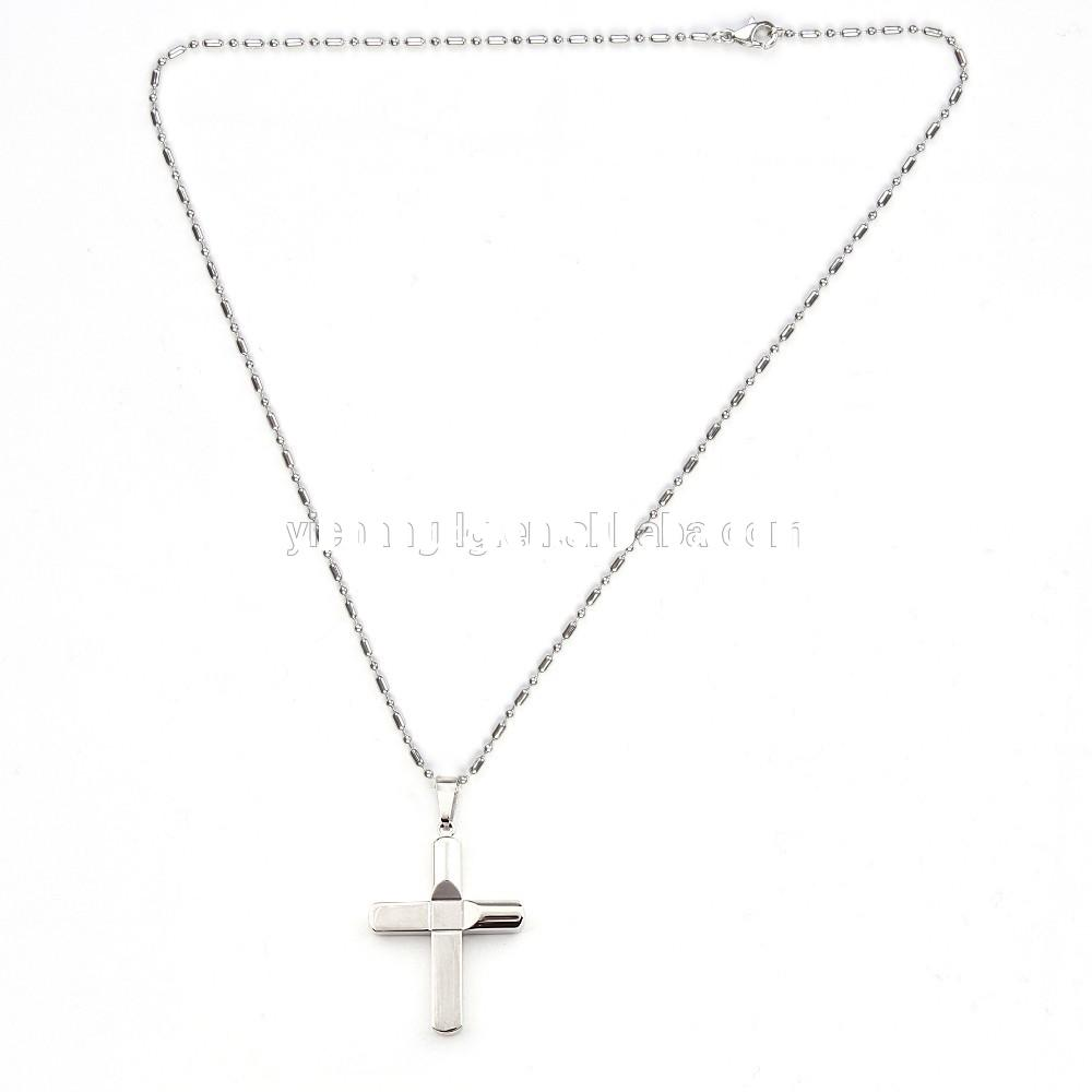 Large style Stainless Steel Bolted Cross silver chain necklaces for men's