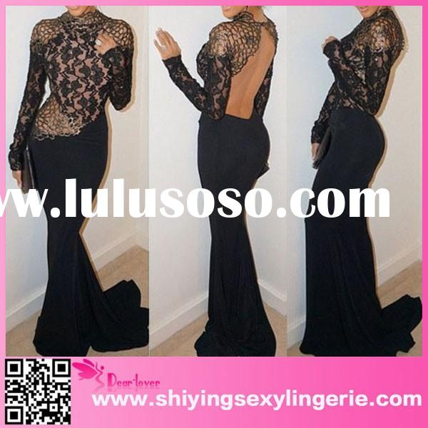 Long sleeve Celebrity Evening Mermaid black lace applique gown
