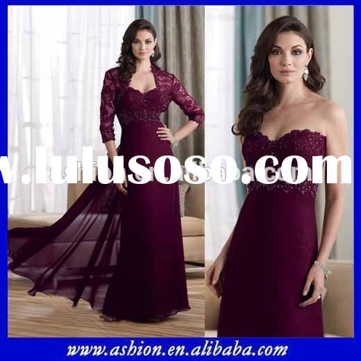 ME-091 Burgundy mother of the bride dress with jacket vintage mother of the bride dress for fat