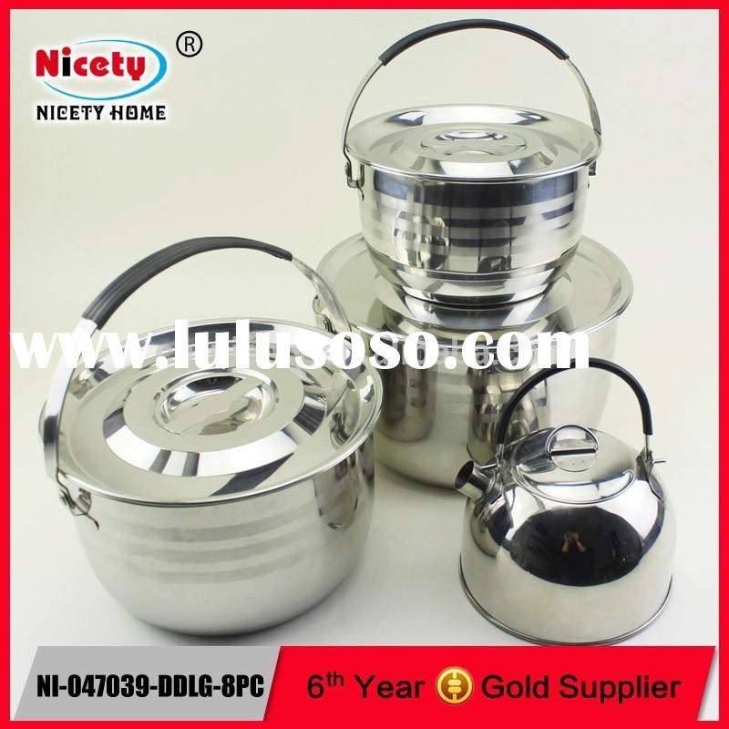 New chinese camping equipment stainless steel picnic cooking set with camping kettle