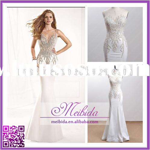 Real crystal white latest design formal evening gown, ladies long evening party wear gown, mermaid d