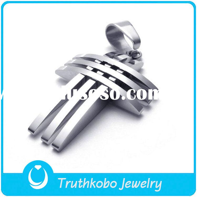 TKB-JP0030 Fashion strip-type silver cross necklace for men 316L stainless steel pendant