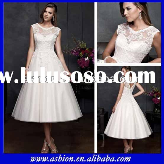 WE-2418 Beautiful tea length wedding dresses with sleeves short country wedding dresses