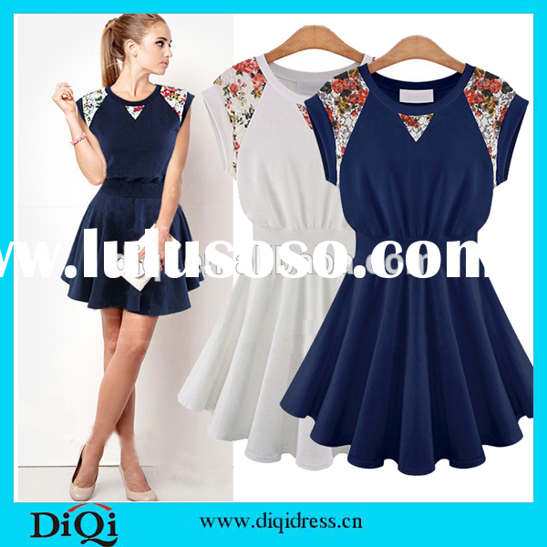 Wholesale white and blue cotton dress bohemian style clothing latest frock designs for women