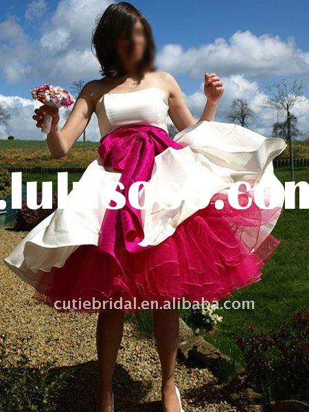 beautiful prom dresses Tea length Party Dress hot sale red and white prom dress