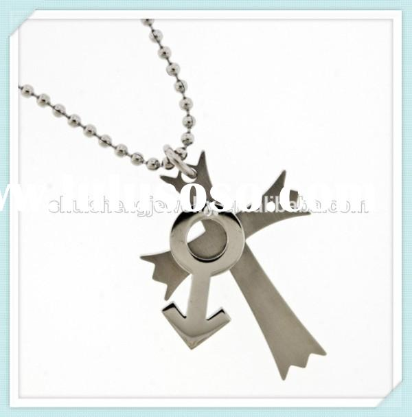 latest fashion stainless steel high quality plain silver cross necklace men with mens symbol