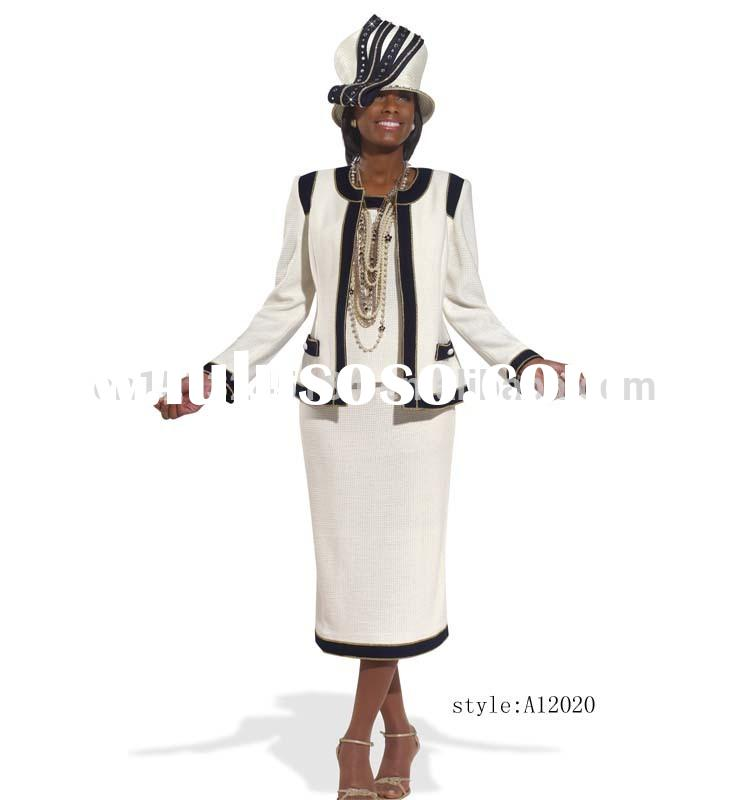 new arrival 3pcs fancy elegant women church suits with factory price