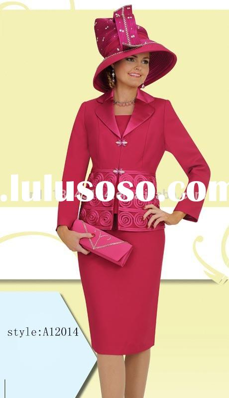 new arrival fancy elegant women church suits/wedding suits with factory price