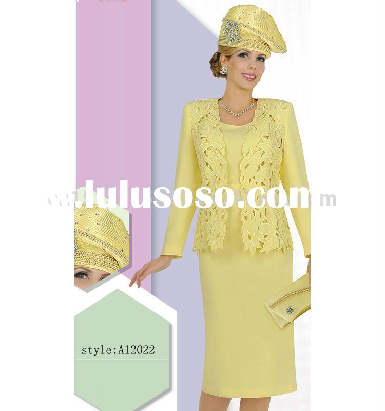 new arrival yellow colored fancy elegant women church suits with factory price