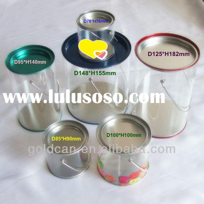 plastic candy tin bucket wholesale, candy tin can, plastic tin bucket