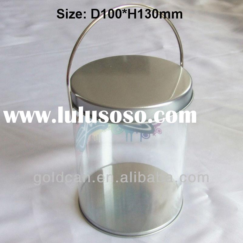 plastic candy tin bucket/can with metal handle