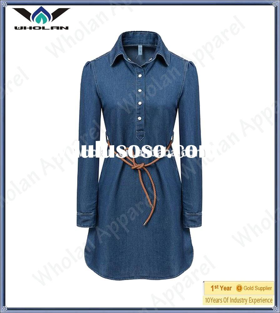 2014 Wholan new arrival lady denim shirt dress shirt dress for women wholesale shirt dress