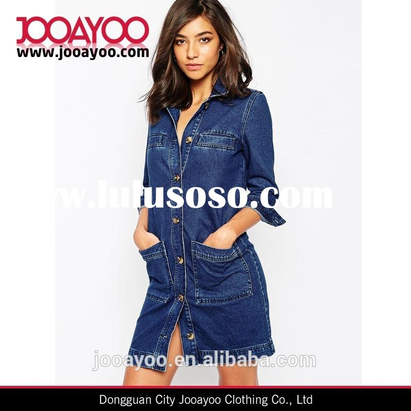 2015 New women summer casual dresses point collar front patch pockets long sleeve denim oversized sh