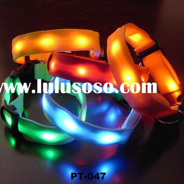Adjustable LED Light Dog Safety Collar Flashing Light Up for Night Nylon pet collar