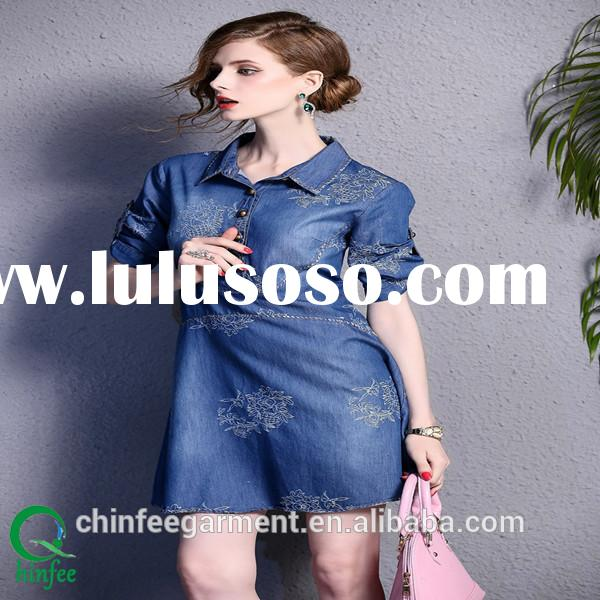 Autumn Roll Sleeves Denim Shirts Dress For Women