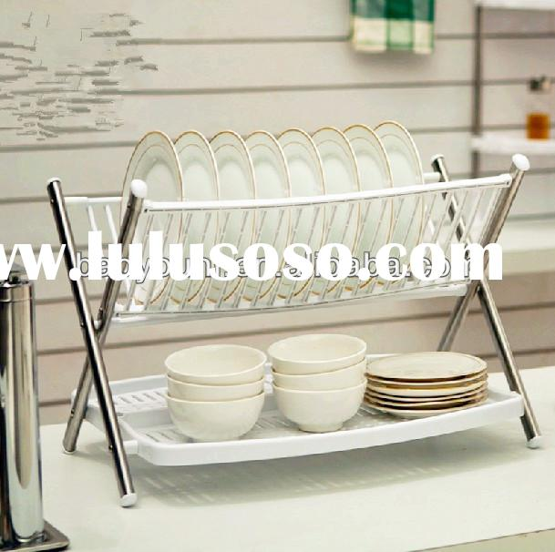BYN dish drainer with drip tray folding plastic dish rack and drainer