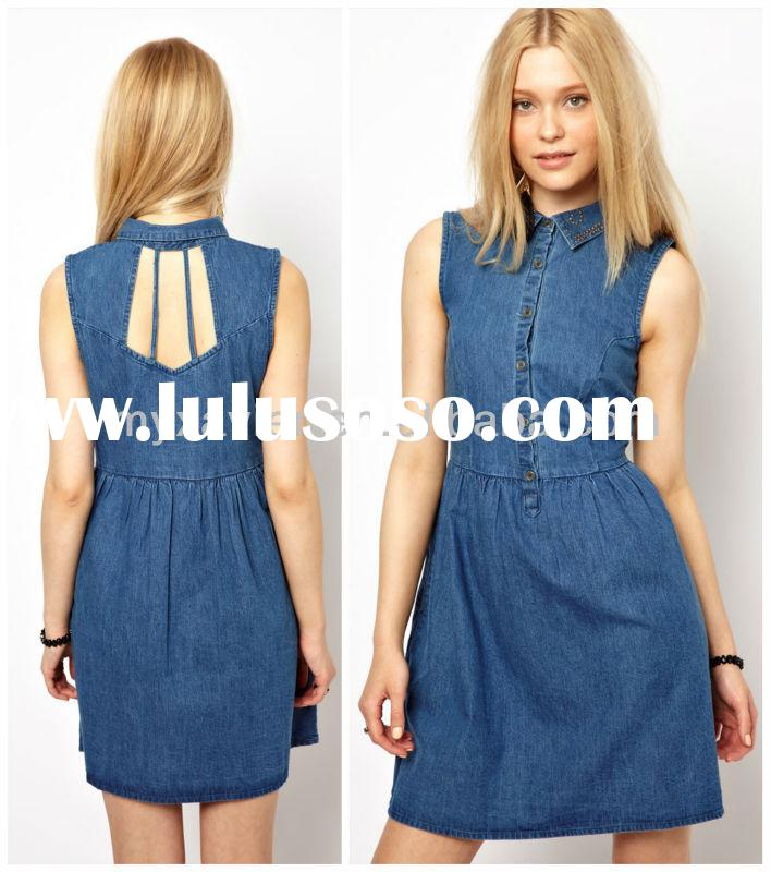 Denim shirt dress for women wholesale(SA028)