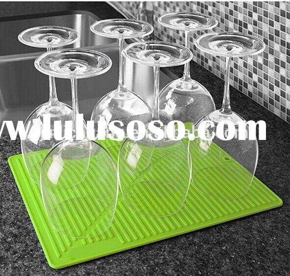 Folding Dish Rack/Wine Stem Drainer, Green Roll Up Silicone Dry Water Tray With Hanger, Food Grade D