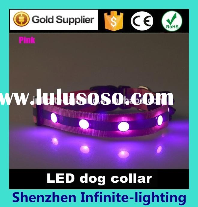 High brightness luminous LED dog collars/ LED Flashing light up flat optic fiber dog collar