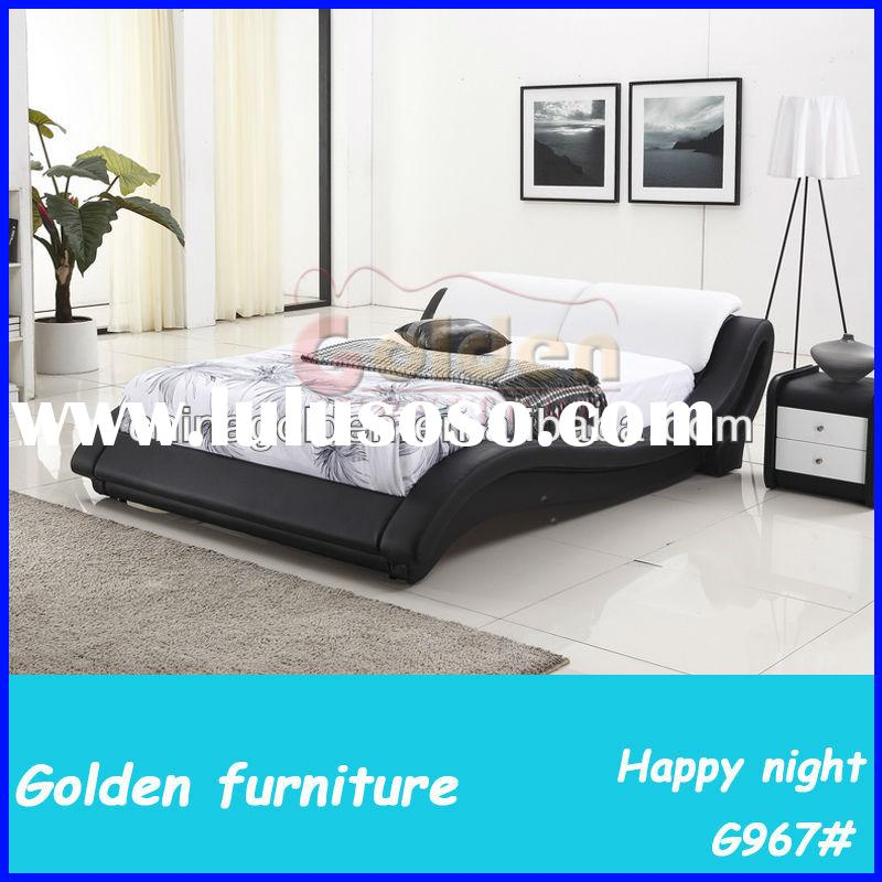 King size leather bed luxury classic italian style furniture
