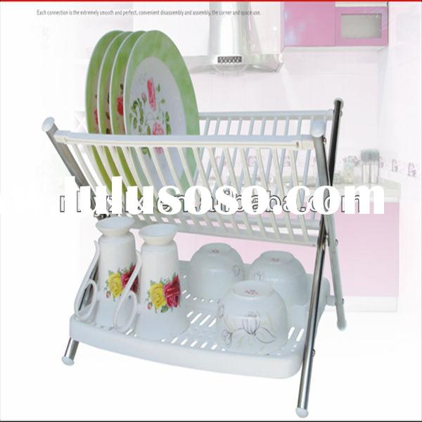 Kitchen folding plastic dish rack with dripping tray / kitchen dish rack / dish rack stand
