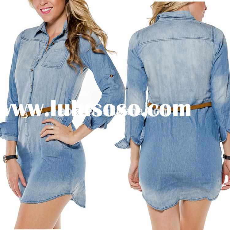 Long sleeve denim shirts stylish casual wear waisted dress for women daily