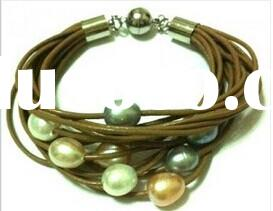 Natural freshwater pearl handmade magnetic leather bracelet for women