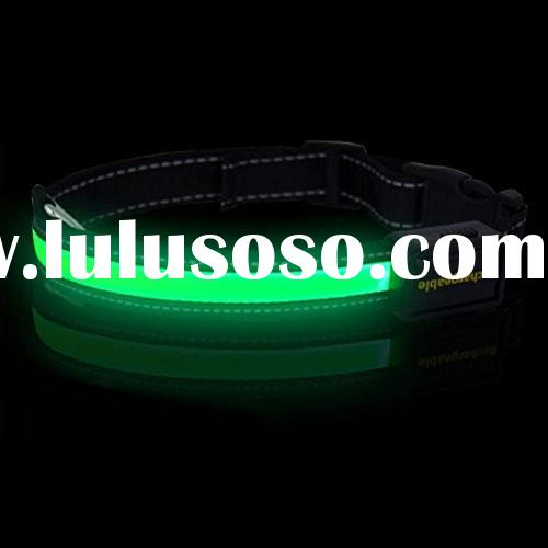 Nylon LED Dog Night Safety Collar Flashing Light up W/circular Pendant Collar Green
