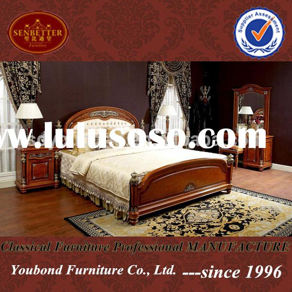 Royal luxury classic solid Wood bedroom set high quality Italian furniture 0029
