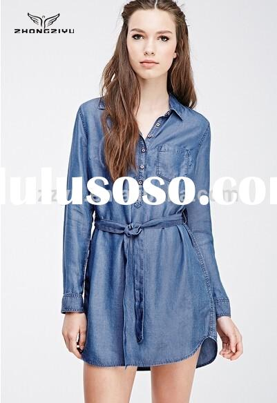 Top Fashion Long Sleeve Belt Denim Shirt Dress Pockets for Women Z4660
