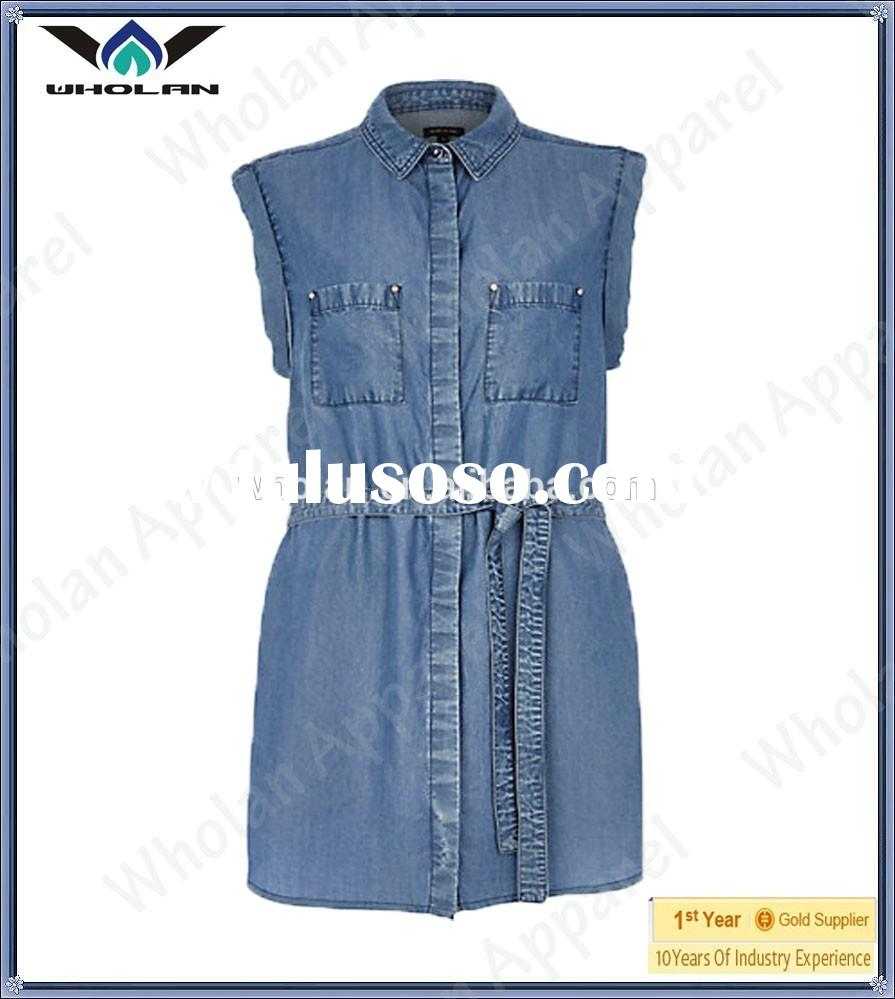 Top quality lady denim shirt dress sleeveless shirt dress for women wholesale cheap shirt dress