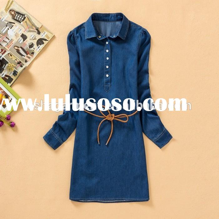 Women/lady new fashion Shirt Dress stand colloar Long Sleeve casual cotton Denim Dress Belt oem 2xl