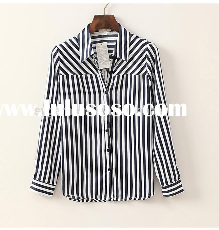 2015 New Women Blouse Spring Long Sleeve Casual Striped Shirts Tops For Women